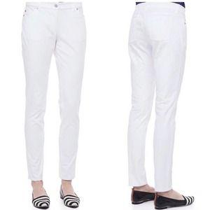 Eileen Fisher White Stretch Skinny Jeans Size 12